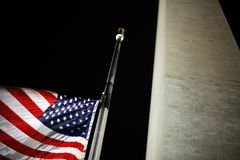 American Flag at Washington Monument Stock Photos
