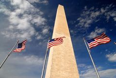 American Flag Washington Monument. This was taken in Washington DC from the from outside the Washington Monument which has American flags circling it Stock Photos