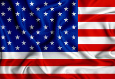 American flag with wave  luxury silk or satin fabric backgro Stock Photos