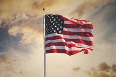 Free American Flag Waving Royalty Free Stock Photography - 124339947