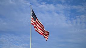 American Flag waving in the breeze stock video