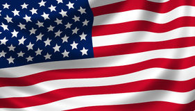 American flag waving detail stock images