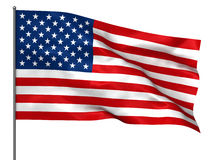 American flag. Waving American flag isolated over white background Royalty Free Stock Image