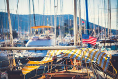 American flag waving from a sailboat Royalty Free Stock Photo