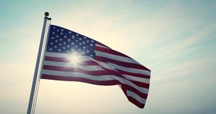 American Flag Waving In The United States Of America Shows Independence - Video 4k 30fps