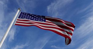 American Flag Waving In The United States Of America Shows Independence - Slow Motion Video 4k 30fps