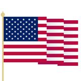 American flag, waving USA flag with sharp corners. Simple isolated vector illustration. National symbol of United States. Of America on white background Royalty Free Stock Photo