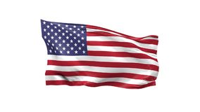 American flag waving on a white background. 3d animation stock video
