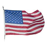 American flag waving on white background royalty free stock photos