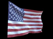 American flag waving in wind black background 3d illustration. American flag waving in wind 3d illustration Royalty Free Stock Photo