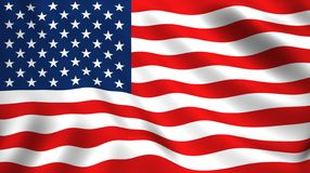 American flag waving in the wind isolated USA