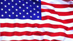 American Flag Waving in the Wind,. Slow Motion stock footage