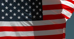 American flag waving in the wind, slow motion stock illustration