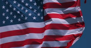 American flag waving in the wind, slow motion royalty free illustration