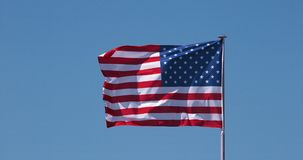 American flag waving in the wind, slow motion stock video