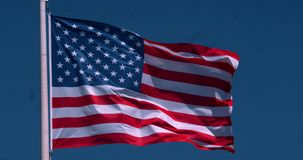 American flag waving in the wind,  slow motion 4K stock footage