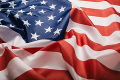 United States of America flag. Image of the american flag flying in the wind royalty free stock photos