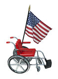 American Flag and Wheelchair Stock Image