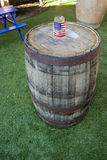 American Flag on Whiskey Barrel Patriotic USA American Celebrati. Whiskey barrel table with American flag patriotic table top decor Stock Photography