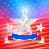 American flag with white stars and ribbon. Background. EPS 10 stock illustration