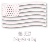 American flag in white style. Three-dimentional designed illustration for 4th july celebration. Vector art. American flag in white style. Three-dimentional Stock Photo