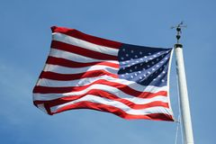 The American Flag in the wind stock image