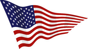 American flag on the wind. Vector american flag on the wind Stock Photos