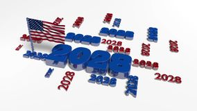American flag in the wind with 2028 designs. And a white background stock video