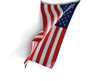 American flag in the wind, isolated. Royalty Free Stock Image