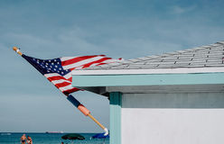 American Flag. In the wind on Miami Beach, South Beach, Miami, Florida Stock Images