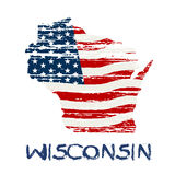 American Flag in Wisconsin Map in Grunge Style Stock Photos