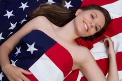 American Flag Woman stock images