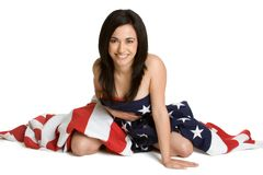 American Flag Woman Stock Photo