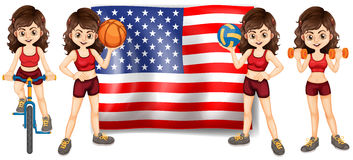 American flag and woman athlete Royalty Free Stock Photography
