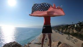 American flag Woman stock footage