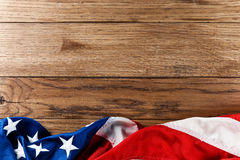 American flag on wood Stock Photos