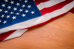 .American flag on wood background Stock Images