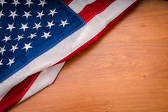 .American flag on wood background Stock Photos