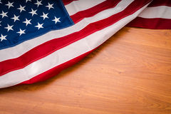 .American flag on wood background Royalty Free Stock Image