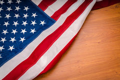 .American flag on wood background Royalty Free Stock Photography