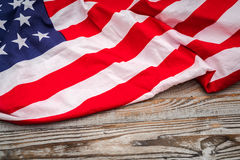 American flag on wood background . Stock Photography