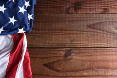 American Flag on Wood stock photography