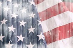 American Flag on Wood royalty free stock image
