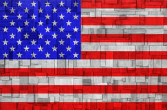 American Flag on a wooden Background. Wooden background with american flag Stock Image