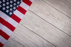 American flag on a wooden background. The concept of freedom and patriotism.  stock images