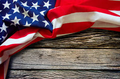 American flag on wooden background Royalty Free Stock Images