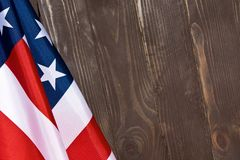 American flag wooden background.The Flag Of The United States Of America. The place to advertise, template.  Royalty Free Stock Image