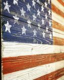 American flag on wooden background Stock Images