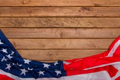 American flag wooden background.The Flag Of The United States Of America. The place to advertise, template.The view from the top.  Royalty Free Stock Photography