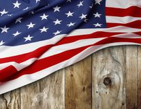 American flag on boards. American flag and wooden boards Stock Photography